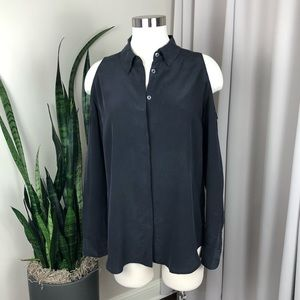 Equipment Silk Cold Shoulder Button Down Shirt M